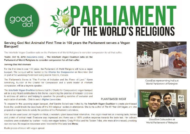 vegan food world parliament